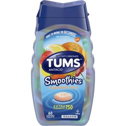 TUMS Smoothies Assorted Fruit Extra Strength Antacid Chewable Tablets for Heartburn Relief, 60 Tablets