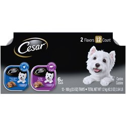 (12 Pack) CESAR Wet Dog Food Loaf in Sauce Rotisserie Chicken Flavor with Bacon & Cheese and Filet Mignon Flavor with Bacon & Potato Variety Pack, 3.5 oz. Easy Peel Trays