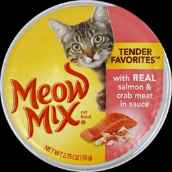 Meow Mix Tender Favorites Real Salmon & Crab Meat in Sauce Wet Cat Food, 2.75-Ounce Cups