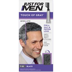 Just For Men Touch of Gray, Gray Hair Coloring for Men's with Comb Applicator, Great for a Salt and Pepper Look - Black, T-55