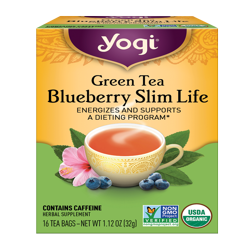 Yogi Tea, Green Tea Blueberry Slim Life Tea, Tea Bags, 16 Ct