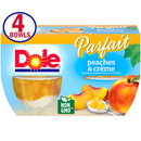 Dole Fruit Bowls Peaches & Creme Parfait, 4.3 Oz Fruit Parfait, 4 Cups of Fruit