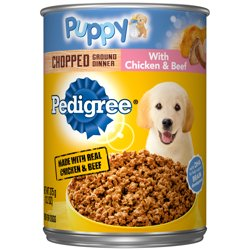 Pedigree Puppy Chopped Ground Dinner With Chicken & Beef Adult Canned Wet Dog Food, 13.2 oz. Can