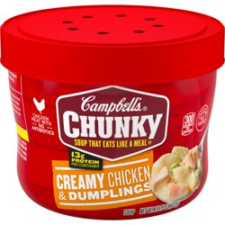Campbell's Chunky Microwavable Soup, Creamy Chicken & Dumplings Soup, 15.25 Ounce Bowl
