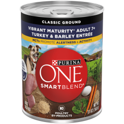 Purina ONE Natural Senior Pate Wet Dog Food, SmartBlend Vibrant Maturity 7+ Turkey & Barley Entree, 13 oz. Can
