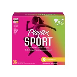 Playtex Sport Plastic Tampons, Super Plus, Unscented, 36 Ct