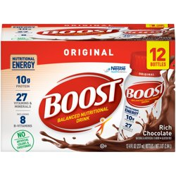Boost Original Ready to Drink Nutritional Drink, Rich Chocolate, 12 - 8 FL OZ Bottles