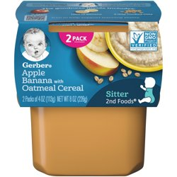 Gerber 2nd Foods Apple Banana with Oatmeal Baby Food 4 oz. Tubs 2 Count