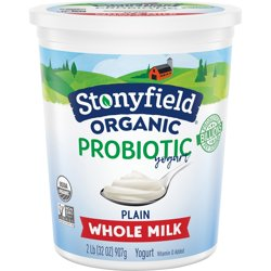 Stonyfield® Organic Plain Whole Milk Probiotic Yogurt 32 oz. Tub
