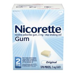 Nicorette Nicotine Gum to Stop Smoking, 2mg, Original Unflavored - 170 Count