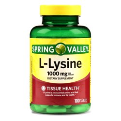 Spring Valley L-Lysine Tablets, 1000mg, 100 Ct