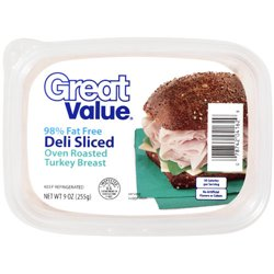 Great Value 98% Fat-Free Deli Sliced Oven Roasted Turkey Breast, 9 Oz.