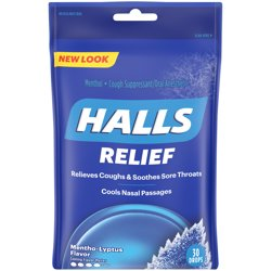 HALLS Mentho-Lyptus Cough DropsIncludes one 30 ct. bag of HALLS Mentho-Lyptus Flavor Cough Drops.