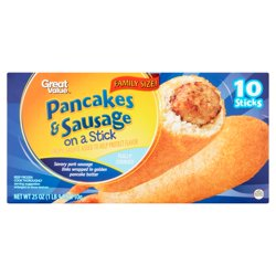 Great Value Pancakes & Sausage on a Stick, Family Size, 25 oz, 10 Count