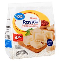 Great Value Cheese Ravioli Pasta, 25 oz