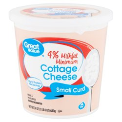 Great Value 4% Milkfat Minimum Small Curd Cottage Cheese, 24 oz