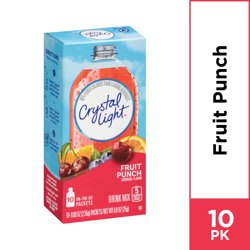 Crystal Light Fruit Punch On-The-Go Powdered Drink Mix, 10 ct - 0.09 oz Packets