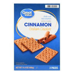 Great Value Cinnamon Graham Crackers, 3 count, 14.4 oz