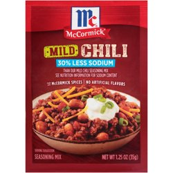 McCormick 30% Less Sodium Mild Chili Mild Seasoning Mix, 1.25 oz