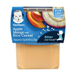 Gerber 2nd Foods Apple Mango with Rice Cereal Baby Food, 4 oz. Tubs, 2 Count