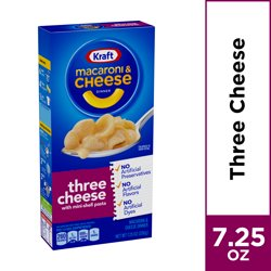 Kraft Three Cheese Mac and Cheese Dinner, 7.25 oz Box