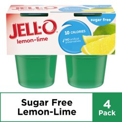 Jell-O Sugar Free Ready to Eat Lemon Lime Gelatin, 4 ct - 12.5 oz Package