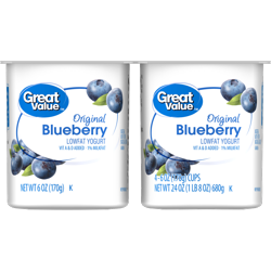 Great Value Original Blueberry Lowfat Yogurt, 6 oz, 4 ct