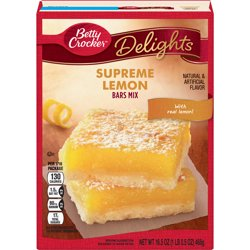 Betty Crocker Delights Supreme Lemon Dessert Bar Mix, 16.5 oz