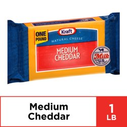 Kraft Medium Cheddar Cheese Block, 16 oz Wrapper