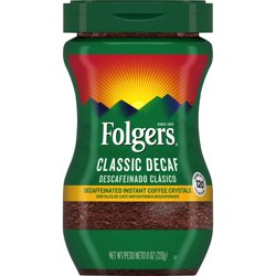 Folgers Decaffeinated Instant Coffee Crystals Classic Decaf, 8-Ounce Jar