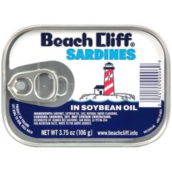 Beach Cliff Sardines in Soy Oil, 3.75oz can