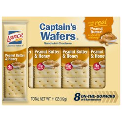 Lance Captain's Wafers Peanut Butter & Honey Sandwich Crackers, 8 Ct