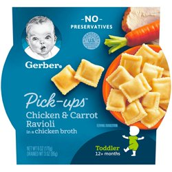 Gerber Pasta Pick-Ups Chicken and Carrot Ravioli Packed in Chicken Broth 6 oz. Tray