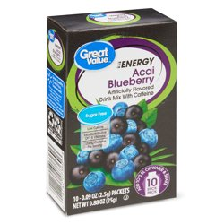 Great Value Sugar-Free Energy Acai Blueberry Drink Mix, 0.88 oz, 10 Count
