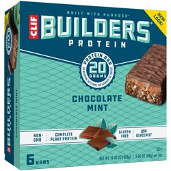 Clif Builders Protein Bars, Chocolate Mint, 20g Protein, 2.4 ounce bars, 6 count (Now Gluten Free)