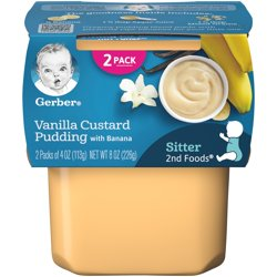 Gerber 2nd Foods Vanilla Custard Pudding with Banana Baby Food 4 oz. Tubs 2 Count