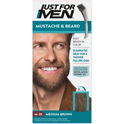 Just For Men Mustache & Beard, Beard Coloring for Gray Hair with Brush Included - Color: Medium Brown, M-35