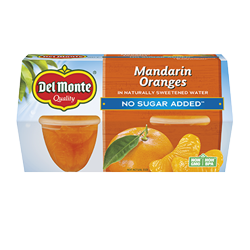 Del Monte No Sugar Added Mandarin Oranges, 4 oz Cup, 4 Count Box