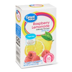 Great Value Sugar-Free Raspberry Lemonade Drink Mix, 0.8 oz, 10 Count