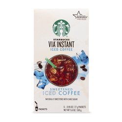 Starbucks VIA Instant Coffee Medium Roast Packets — Sweetened Iced Coffee — 1 box (6 packets)