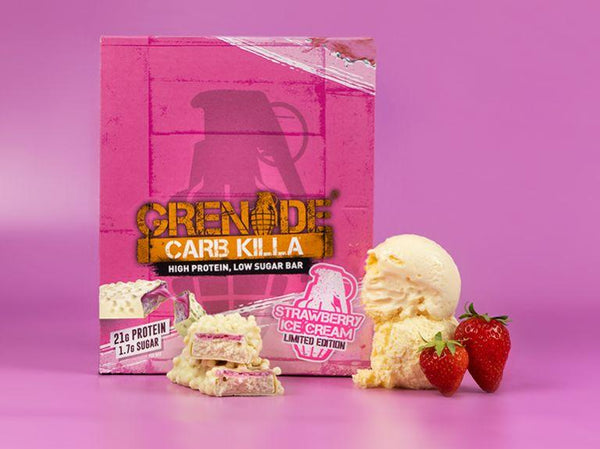 Grenade - Strawberry Ice Cream Carb Killa Protein Bar (12 Bar Box) - Grenade - Shake Supplements