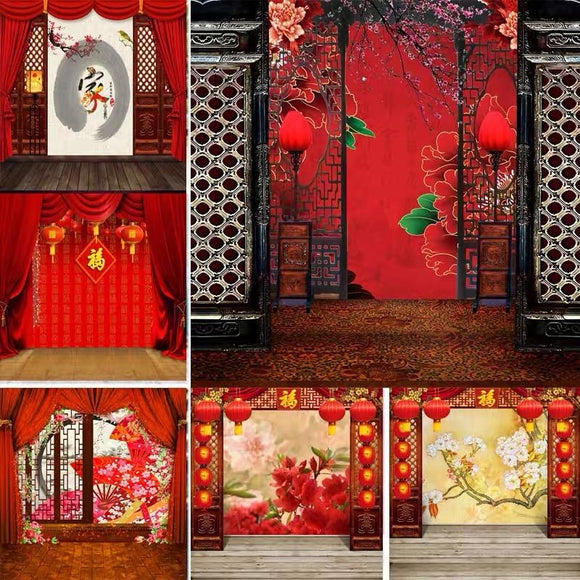 1.5x2.3m Chinese New Year Theme Backdrop Vlogging Live Photo Background - mons-ster