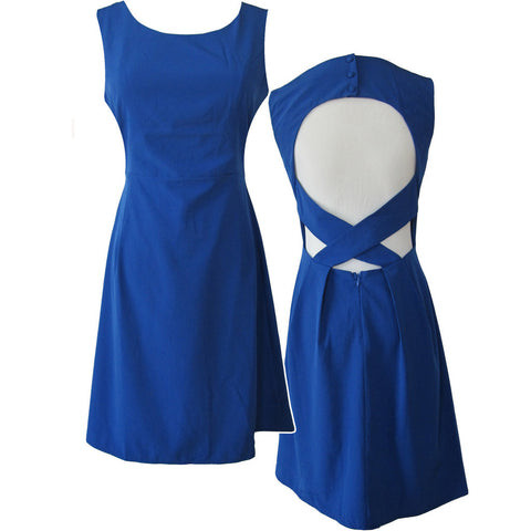 Blue Back Detail Dress