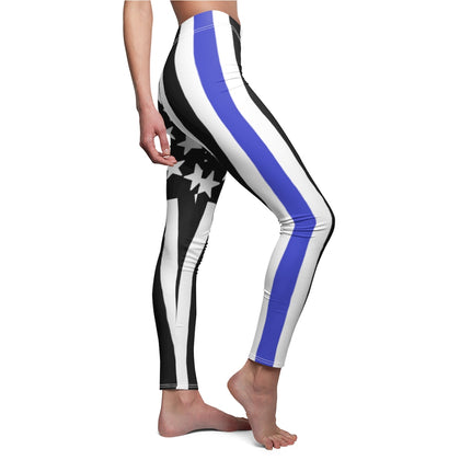 American Flag Large With Blue Stripe Leggings - PoliticHell