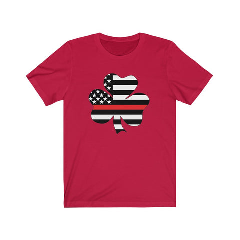 American Flag Clover Red Stripe Short Sleeve Shirt - PoliticHell
