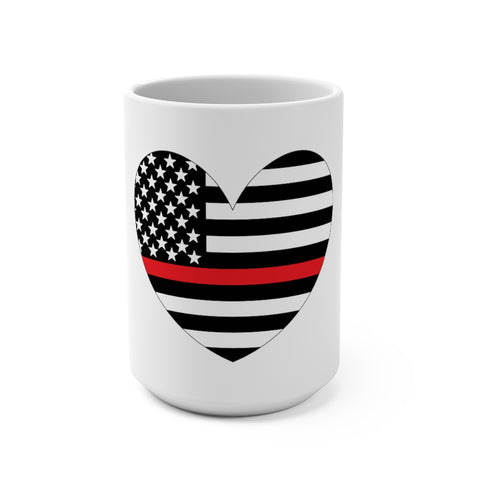 American Flag Heart Red Stripe Mug 15 oz - PoliticHell