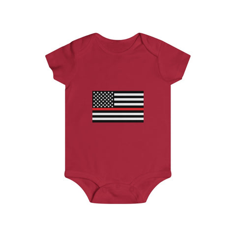 American Flag Red Stripe Bottom Snap Onesie - PoliticHell