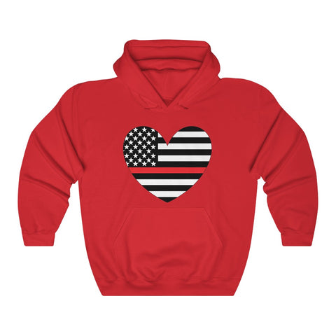 American Flag Heart Red Stripe Hoodie - PoliticHell