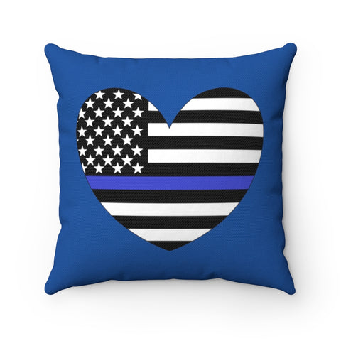 American Flag Heart Blue Stripe Pillow - PoliticHell