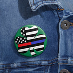 American Flag Clover Blue And Red Stripe Pin Button - PoliticHell